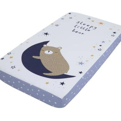 Goodnight Sleep Tight White and Blue Bear, Moon and Star 100% Cotton Photo Op Fitted Crib Sheet