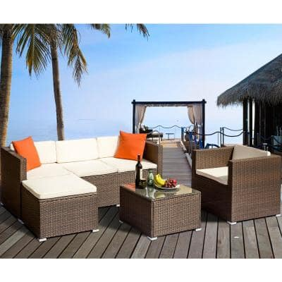 4-Piece Brown Wicker Outdoor Conversation Sectional with White Cushions