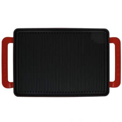 French Enameled 9.75 in. Cast Iron Grill Pan in Red