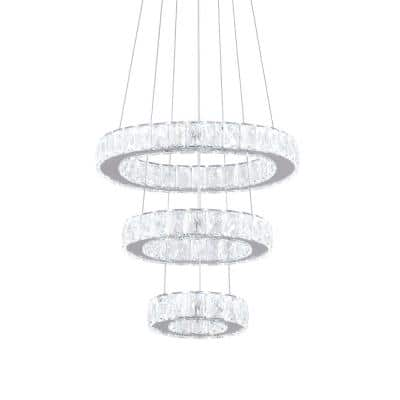 33-Watt Round Integrated LED Chrome White Light Wagon Wheel Chandelier with K9 Crystals