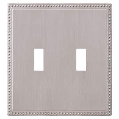 Perlina 2 Gang Toggle Metal Wall Plate - Brushed Nickel