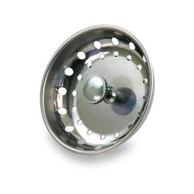 3-1/2 in. Strainer Basket with Fixed Post Replacement for Kitchen Sink Drains Stainless Steel and Rubber Stopper