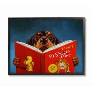 16 in. x 20 in. ''50 Scents Of Gray Funny Daschund Dog Reading Painting'' by Lucia Heffernan Framed Wall Art
