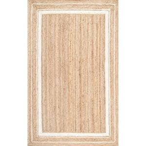 Rikki Braided Border Jute Off-White 5 ft. x 8 ft. Area Rug