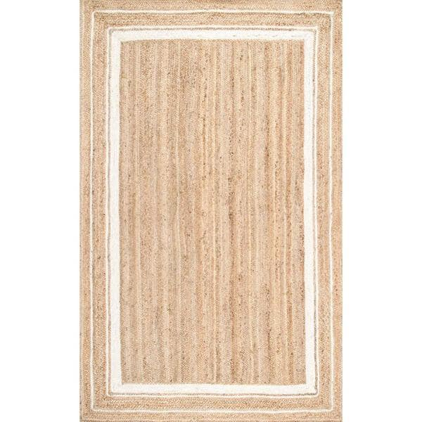 Nuloom Rikki Braided Border Jute Off White 8 Ft X 10 Ft Area Rug Tadr04a 76096 The Home Depot