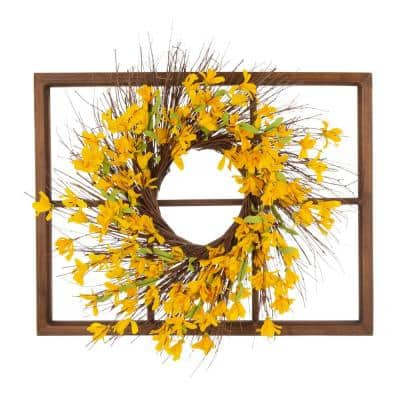 24 in. Dia Artificial Winter Jasmine Wreath with 28 in. H Wooden Window Frame