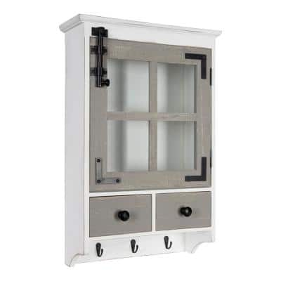 Hutchins 6 in. x 15 in. x 23 in. White/Gray Wood Decorative Cubby Wall Shelf with Hooks