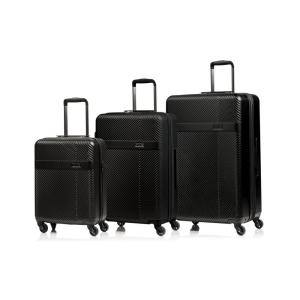 CHAMPS Grid 28 in.,24 in., 20 in. Black Hardside Luggage Set with Spinner Wheels (3-Piece)