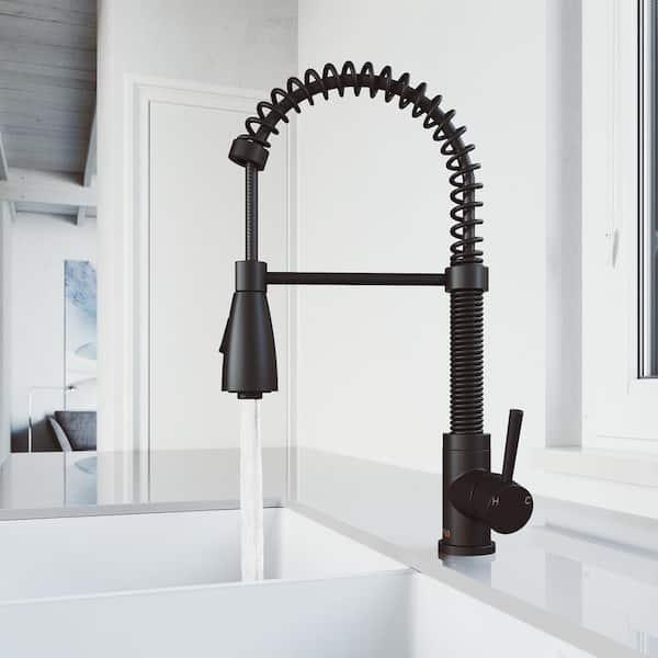 Vigo Brant Single Handle Pull Down Sprayer Kitchen Faucet In Matte Black Vg02003mb The Home Depot