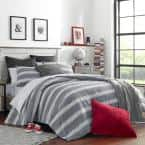 Craver 3-Piece Charcoal Gray Striped Cotton Full/Queen Comforter Set