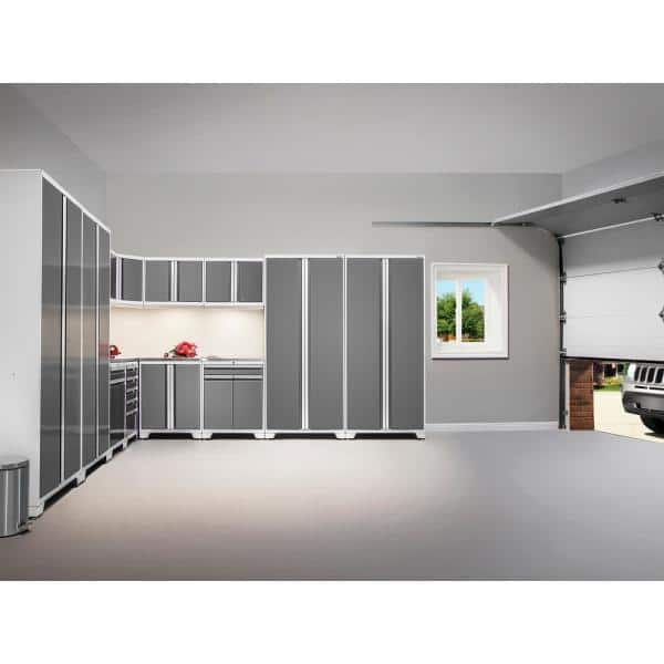 Newage Products Pro Series 128 In W X 84 75 In H X 24 In D 18 Gauge Welded Steel Garage Cabinet Set In Platinum 7 Piece 52452 The Home Depot