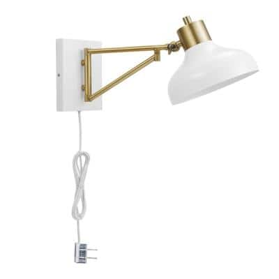 Campbell 1-Light White and Brass Plug-In or Hardwire Swing Arm Wall Sconce with 6 ft. Cord