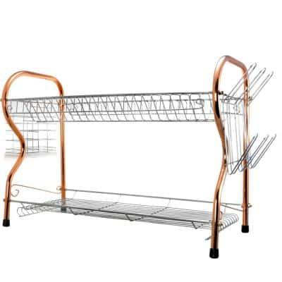 22 in. 2-Tier Copper Chrome Plated Standing Dish Rack