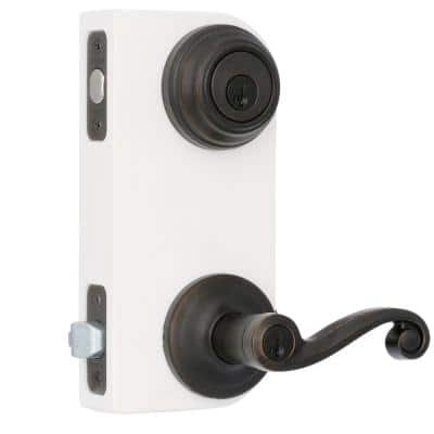 Lido Venetian Bronze Exterior Entry Door Lever and Single Cylinder Deadbolt Combo Pack Featuring SmartKey Security