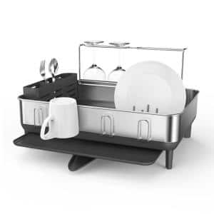 Steel Frame Dish Rack with Wine Glass Holder in Fingerprint-Proof Stainless Steel and Grey Plastic
