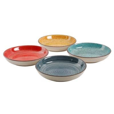 12.05 oz. Assorted Colors Stoneware Pasta Bowls (4-Piece)