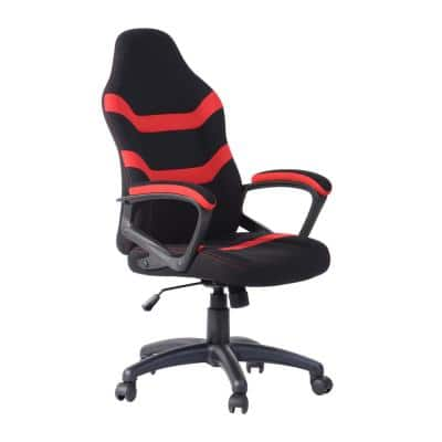 Red Ergonomic Height-Adjustable Office Gaming Chair with Breathable Fabric for Office, Studyroom