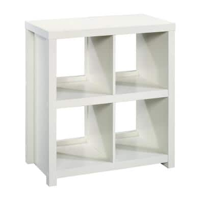 32.36 in. White Wood 4-shelf Accent Bookcase with Cubes