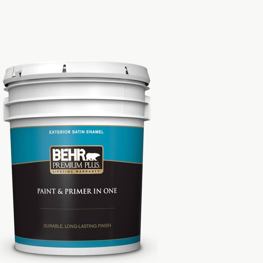 Behr Premium Plus 5 Gal Ultra Pure White Satin Enamel Exterior Paint And Primer In One 905005 The Home Depot