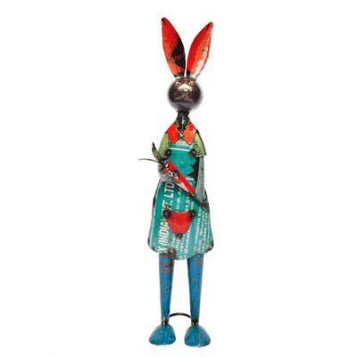 23 in. Handcrafted Recycled Iron Madam Bunnykin Garden Statue