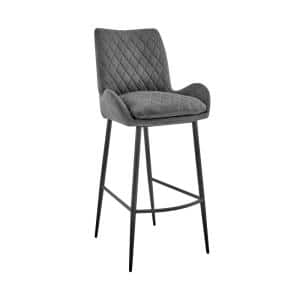 Panama 30 in. Bar Height Bar Stool in Charcoal Fabric and Black