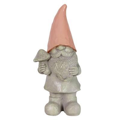 Solar Peach Happy Hat Gnome Garden Statue