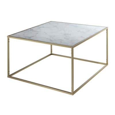 33 in. Gold Medium Square Wood Coffee Table