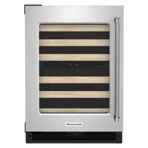 24 in. Dual Zone 46-Bottle Built-In Undercounter Wine Cooler in Black Cabinet with Stainless Doors