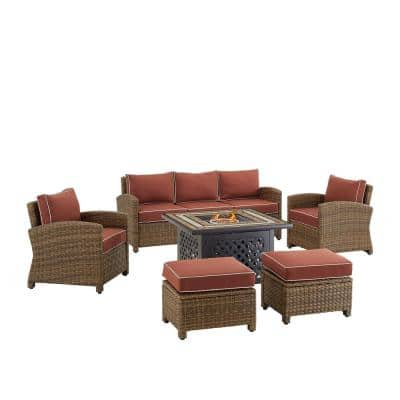 Bradenton Weathered Brown 6-Piece Wicker Patio Fire Pit Set with Sangria Cushions
