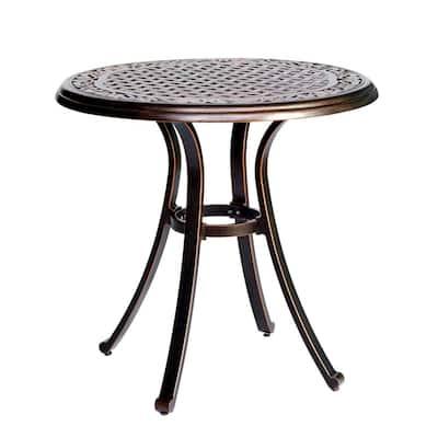 28 in. Dia x 28.6 in. Antique Bronze Round Heavy-Duty Cast Aluminum Outdoor Patio Dining Table