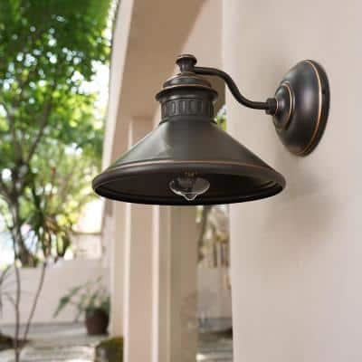 Black forge 1-Light Oil-Rubbed Bronze Dark Sky Outdoor Wall Lantern Sconce