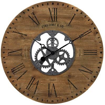 27 in. Brown Shiplap Gears Farmhouse Wall Clock