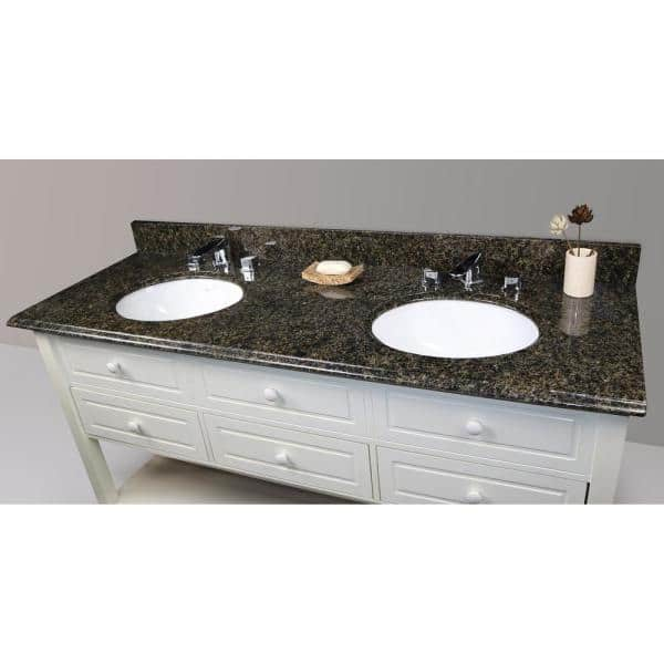 Home Decorators Collection 61 In W Granite Double Oval Basin Vanity Top In Uba Tuba With White Basins 62822 The Home Depot