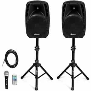 Dual 10 in. Portable 1600-Watt Powered Bluetooth-Controlled Speakers
