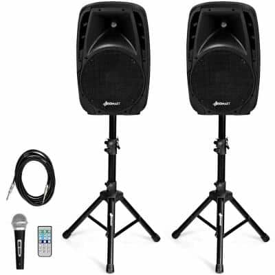 Dual 10 in. Portable 1600-Watt Powered Controlled Speakers