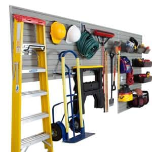 6-Compartments Small Part Organizer Modular Garage and Hardware Wall Storage Set with Accessories in Silver (26-Piece)