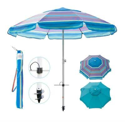 7 ft. Telescoping Steel Pole Beach Umbrella with Sand Anchor, Push Button Tilt and Carry Bag in Multi-Color Stripe