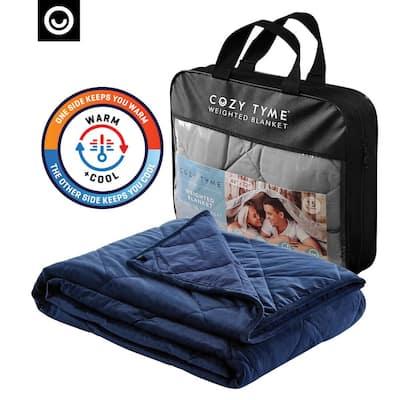 """Deka 2 in 1 Warm & Cool Weighted Blanket 20 Pound 72""""x80"""", Navy"""