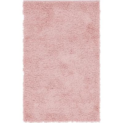 Davos Shag Dusty Rose Pink 3 ft. x 5 ft. Area Rug