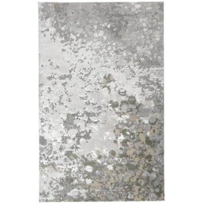 Orin Silver/Ivory Bone 10 ft. x 13 ft. Abstract Polyester Area Rug