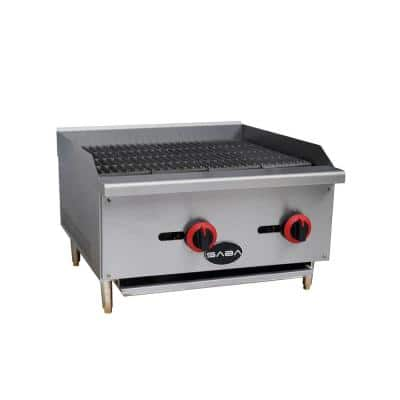 24 in. Gas Cooktop Charbroiler in Stainless Steel with 2 Burners