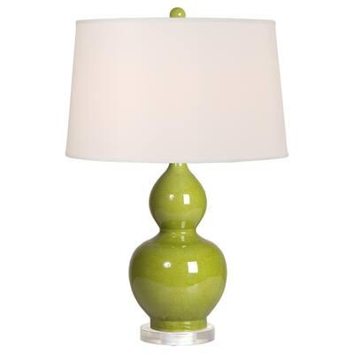 25 in. Chartreuse Gourd Porcelain Vase Table Lamp
