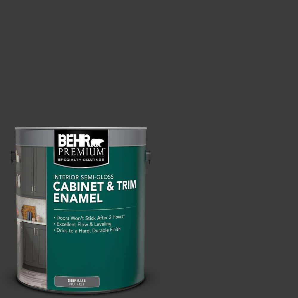 Behr Premium 1 Gal N520 7 Carbon Semi Gloss Enamel Interior Cabinet And Trim Paint 712301 The Home Depot