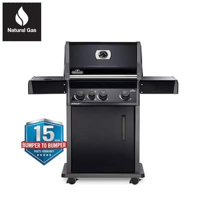Rogue 3-Burner Natural Gas Grill with Infrared Side Burner in Black