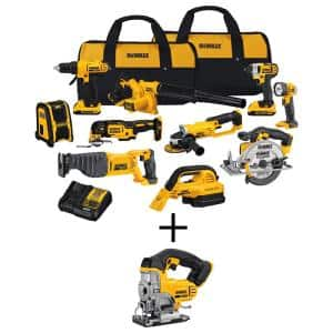 20-Volt Max Cordless Combo Kit (10-Tool) with (2) 20-Volt 2.0Ah Batteries, Charger & Cordless Jigsaw