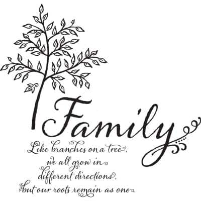 Multi-Color Family Tree Wall Quote Decal