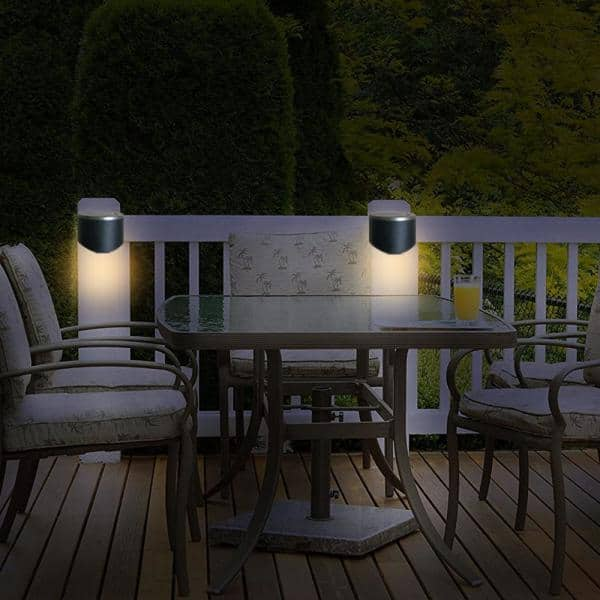 Hampton Bay - Solar 2-Toned Black Integrated LED Deck Rail Light with Brushed Nickel Top (2-Pack)