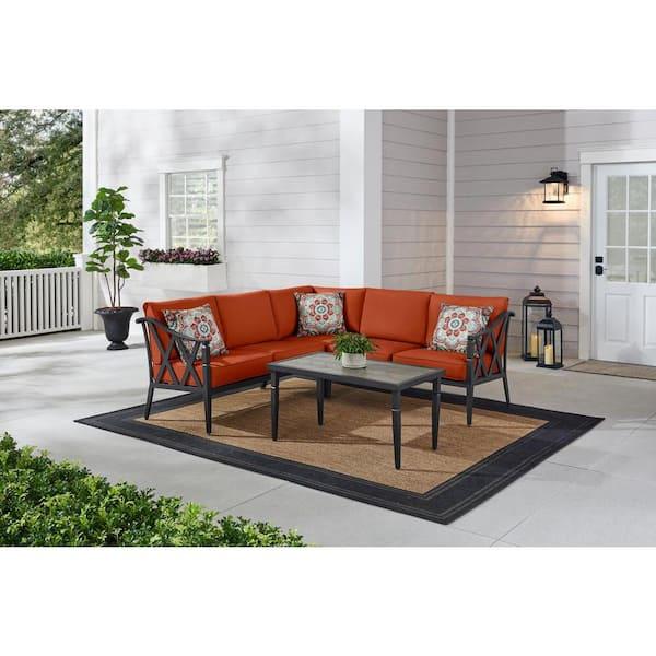 Hampton Bay Harmony Hill 3 Piece Black, Sofa Cushion Support Home Depot