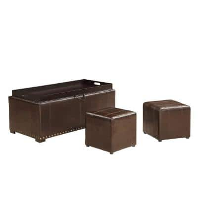 Brown Leather Storage Bench with 2-Side Ottomans