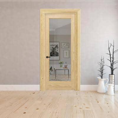 28 in. x 80 in. Right-Hand Full 1-Lite Clear Glass  Unfinished Pine Wood Single Prehung Interior Door w/ Nickel Hinges